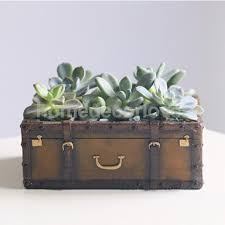 Succulent Pot Design Decorative Suitcase Design Plant Flower Cactus Herbs Sedum Succulent Pot Planter Bonsai Trough Box Plant Bed Pot Decor