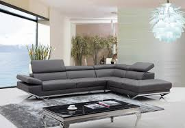 Leather Sectional Living Room Furniture Luxury Grey Leather Sectional For Elegant Living Room