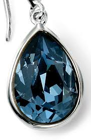 blue swarovski crystal teardrop hook earrings