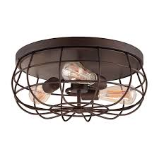 wire cage flush mount light rubbed bronze
