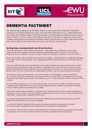 dementia fact sheet equality for all dementia fact sheet