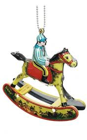 Rocking Horse Holiday Ornament : Colorful Mini Tin Toy Jockey