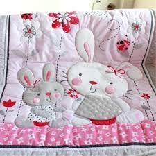 cartoon pink rabbit baby bedding set cotton crib for girls newborns quilt peter peter rabbit nursery