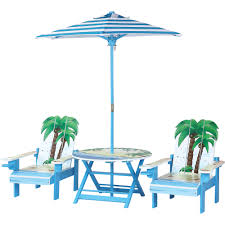 o kids kids wood adirondack table and chairs set with umbrella palm trees