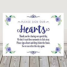 Navy Blue Wedding Sign Our Hearts Guest Book Table Sign Poem 3 For 2