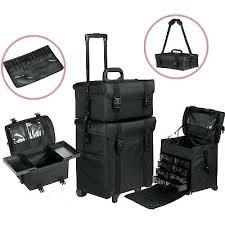 large 2 in 1 rolling makeup train case soft sided nylon black organizer trolley seya beauty