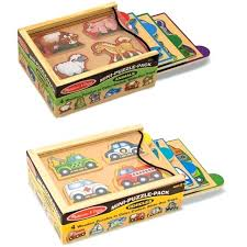 melissa and doug wood puzzles wooden mini puzzle set with storage travel case knob