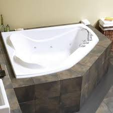 maax velvet 5 ft center drain soaking corner tub with bined hydrosens and bubble tub in white 102745 109 001 000 at the
