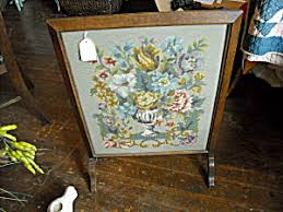 Oak Needlepoint Fireplace Screen (Furniture and Accessories ...
