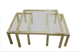 vintage hollywood regency brass chrome coffee tables set of 3
