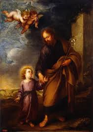 saint joseph leading the christ child bartolome esteban murillo oil painting