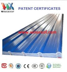 china winsroof 4 layers asa pvc roofing sheet blue and white color corrugated plastic roofing sheets