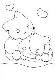 Two Kawaii Kittens In Cute Coloring Page For Girls Japanese Anime