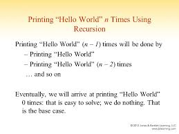 chapter recursion topics simple recursion recursion a  7 printing ""