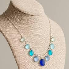 blue multi 9 stone sea gl necklace