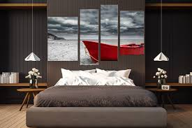 4 piece wall art mountain wall art grey ocean wall decor red sea on wall art bedroom decor with 4 piece large pictures red boat canvas photography black and white