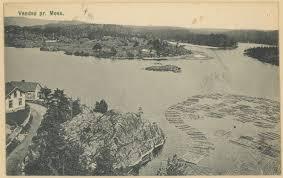 Nedre Vansjø, tømmerfløting (postkort) - Mossebibliotekene / DigitaltMuseum