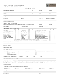 Sample Health Assessment Employee Health Assessment Form employment health assessment 1