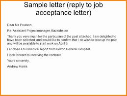 3 Job Offer Acceptance Letter Reply Model Resumed