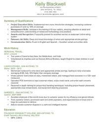 qualifications for a resumes