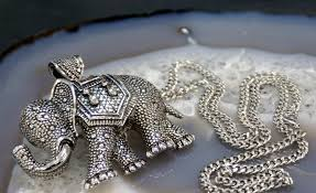 large midi elephant necklace unique statement jewellery great gift idea for elephant collectors