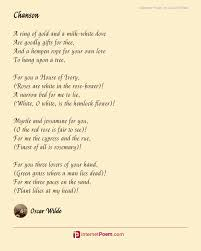chanson poem by oscar wilde