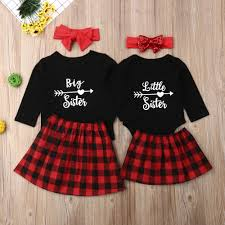 Details About Us Toddler Kids Baby Girl Xmas Clothes Sister Matching Tops Romper Dress Outfits
