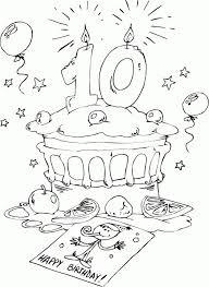 Kleurplaten 10 Jaar Eenvoudig Birthday Cake Age 10 Coloring Page