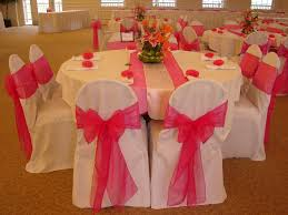 red and silver table decorations. Hot Pink Overlay With Silver Satin. Guest Registration Table Embroidered Red And Decorations