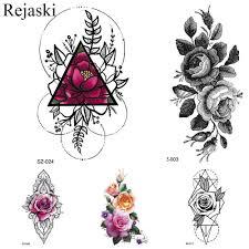 Rejaski красочные геометрия цветок временные татуировки наклейки для