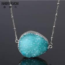 5 piece natural stone pendant necklace semi precious geode druzy quartz pendant necklace diy jewelry