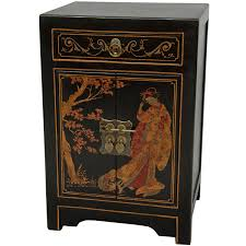 asian inspired furniture. amazoncom oriental furniture black lacquer end table cabinet kitchen u0026 dining asian inspired