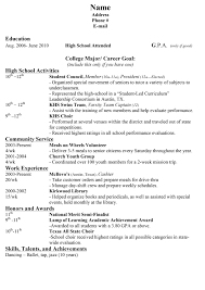 High School Resume For College Template Download Sample Resumes