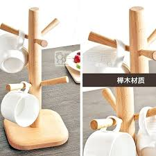 Tea Cup Display Stand Adorable High Quality Tree Shape Wood Coffee Tea Cup Storage Holder Stand