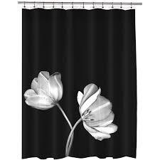 tulip eva peva photo black fl shower curtain 70 in x 72