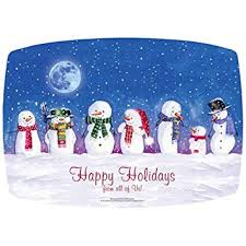 Holidays Snowman Amazon Com Snowmen Happy Holidays Paper Placemats 14x9 75 25
