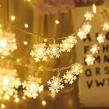 Used Outdoor Christmas Lights For Sale Aodini Snowflake String Lights 16 Ft 40 Led Fairy Lights Battery Operated Waterproof For Xmas Garden Patio Bedroom Party Decor Indoor Outdoor