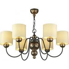 garbo traditional bronze ceiling light with cream shades