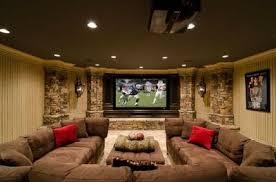 dark media room. Basement Media Room/family Room. Large Dark Brown Sectional Sofa, Screen Wall Room