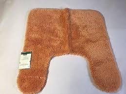 threshold performance bath rug contour toilet rug orange nylon rubber backing