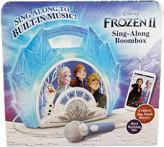 Frozen Light Up Boombox Frozen 2 Sing Along Boombox With Microphone Built In Music Flashing Lights Real Working Mic For Kids Karaoke Machine Connects Mp3 Player Aux In