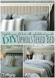 diy upholstered bed. DIY Upholstered Bed - Update Your Old With Panels Www.thelilypadcottage. Diy