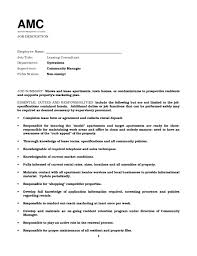 Leasing Agent Job Description For Resume Samples Of Resumes. leasing  consultant ...