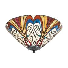 hector tiffany glass medium 2 light flush ceiling light