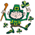 Small Picture Leprechaun Shamrock Clover and pot of gold moving clip art