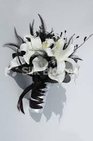 shop beautiful black white small bridal bouquet w lilies Wedding Bouquets Black And White beautiful black white small bridal bouquet w lilies & feathers black and white silk wedding bouquets