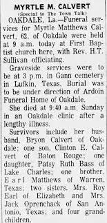 Obituary for Myrtle Matthews CALVERT (Aged 62) - Newspapers.com