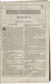 as you like it shakespeare library opening of as you like it in the second folio