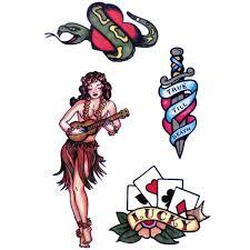 набор временных переводных татуировок олдскул