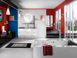 bathroom paint ideas. Bathroom:Colorful Kids Bathroom Paint Ideas With Modern Style Also Cone Hanging Lamp Plus White